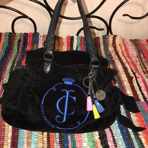 JUICY COUTURE®️VELOUR HOBO HANDBAG W TASSLES
